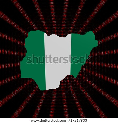 Nigeria Map Flag On Red Hex Stock Illustration 717217933 - Shutterstock