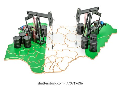 Nigeria map with oil barrels and pumpjacks. Oil production concept. 3D rendering