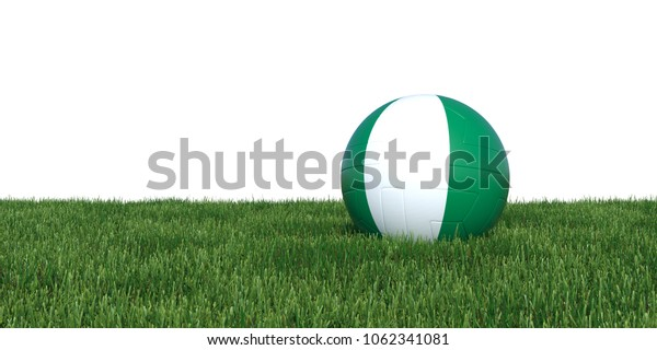 Nigeria Nigerian flag soccer ball lying in grass, isolated on white background. 3D Rendering, Illustration.