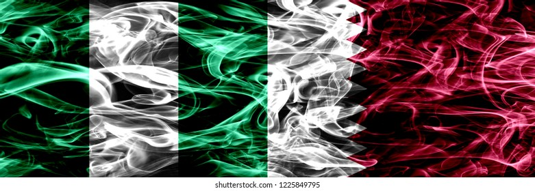 Nigeria, Nigerian vs Qatar, Qatari smoke flags placed side by side. Thick abstract colored silky smoke flags