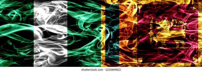 Nigeria, Nigerian vs Sri Lanka, Sri Lankan smoke flags placed side by side. Thick abstract colored silky smoke flags