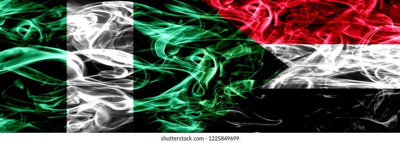 Nigeria, Nigerian vs Sudan, Sudanese smoke flags placed side by side. Thick abstract colored silky smoke flags