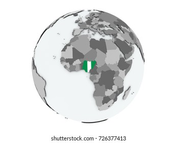 Nigeria on political globe with embedded flags. 3D illustration isolated on white background.