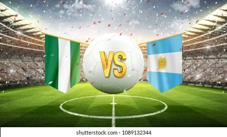 Nigeria vs Argentina. Soccer concept. White soccer ball with the flag in the stadium, 2018. 3d render