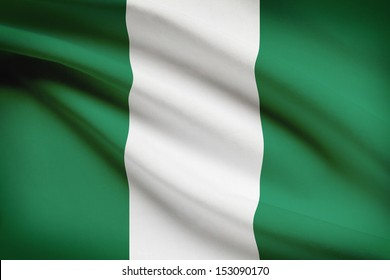 Nigerian flag blowing in the wind. Part of a series.