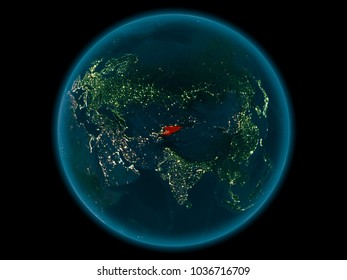 Night above Kyrgyzstan highlighted in red on model of planet Earth in space. 3D illustration. Elements of this image furnished by NASA.