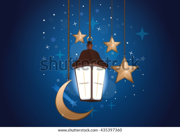 Night background with moon, stars and lantern. Sweet dreams. Good night card