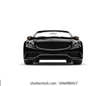 Night black modern luxury convertible car - front view - 3D Illustration