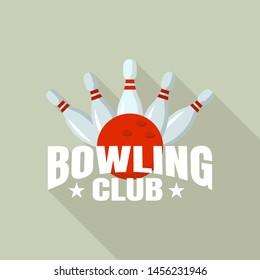 Night bowling club logo. Flat illustration of night bowling club logo for web design