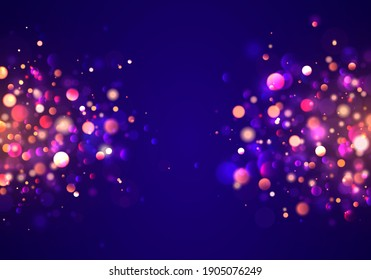 Night bright gold sparkles light abstract. Christmas concept Xmas greeting card. Magic holiday poster, banner. Festive purple and golden luminous background with golden colorful lights bokeh.
