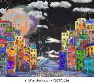 Night bright street