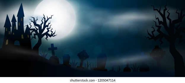 Night cemetery, crosses, tombstones and graves horizontal banner. Colorful scary Halloween illustration.
