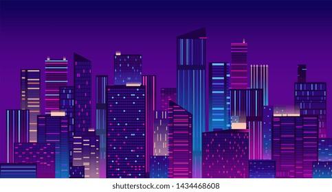 Night city. Colorful new york urban background. Modern cityscape panorama illustration. City urban skyline, architecture downtown skyscraper illuminated