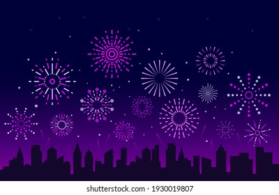 Night city fireworks. Festive christmas pyrotechnics firecrackers with urban skyline. Xmas party festival salutes background