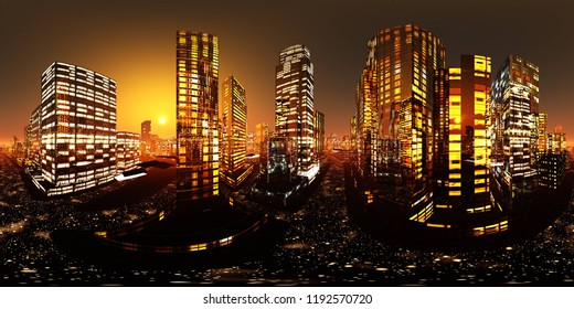 Night city. HDRI . equidistant projection. Spherical panorama. panorama 360. environment map, 3D rendering