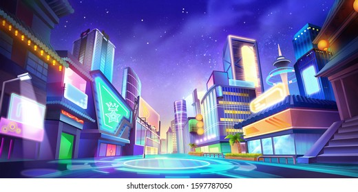 Night City Illustration without Bus and Street Light. Fantasy Urban Backdrop. Concept Art. Realistic Illustration. Video Game Digital CG Artwork Background. Street Scenery.