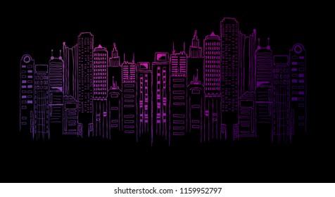 Night city neon light, drawing