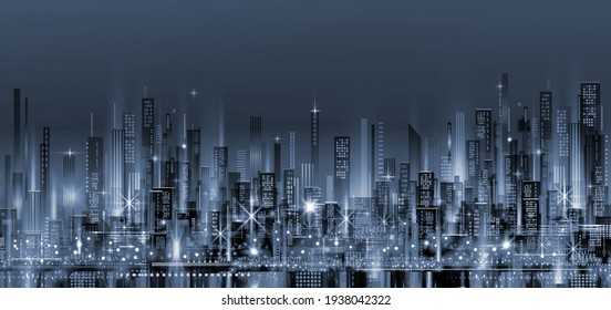 Night city skyline. Background with architecture, skyscrapers, megapolis, buildings, downtown.