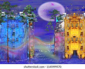 Night cityscape with full moon, oil painting artwork