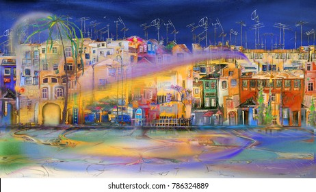 Night cityscape with surreal wind