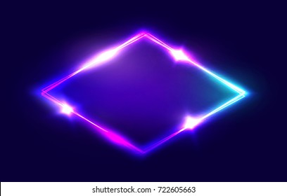 Night Club Neon Rhomb. 3d Retro Light Lozenge Sign With Neon Effect. Techno Rhombus Background. Glowing Brill Frame On Dark Blue Backdrop. Electric Street Diamond. Illustration in 80s Style.