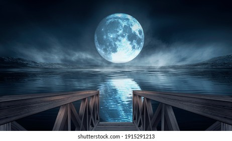 Night cold seascape, fantasy island and wooden pier by the sea. Cold frozen water, reflection of light in water. 3D illustration.