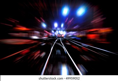 Night colorful illustration of railroad with lights train and motion blur