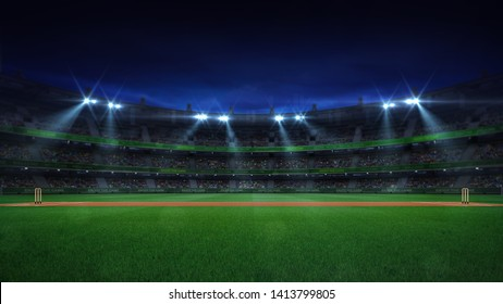 Night cricket field general side view and stadium lights on, modern public sport building background 3D render series