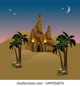 Night desert landscape with a mysterious house in rock. Sand dunes, palms, cavern. Background for cartoon or game asset.