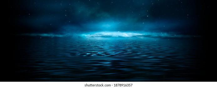 Night fantasy landscape, starry sky. Reflection of moonlight on ice, fog. Dark landscape. Night view of the horizon. 3D illustration.