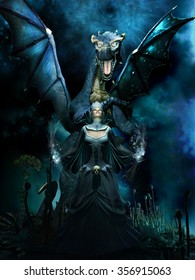Night fantasy scene with blue dragon and evil sorceress