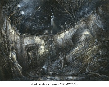 Night fantasy scene filled with many symbols and surreal details, acrylic on paper