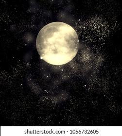 Night fantasy sky with full moon and shining stars