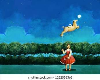 in the night girl dressed of red holds as a toy balloon to form of flying foal surreal acrylic paint archetype of femininie