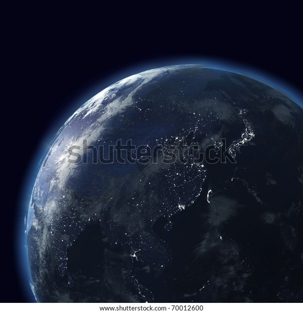 night globe with city lights, detailed map of east, japan, china, india, indonesia, asia