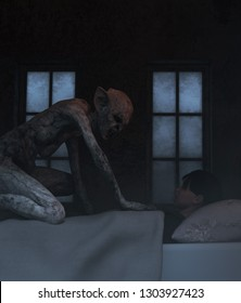 Night hag,Folklore story,Teenage girl with sleeping paralysis,girl being visit or immobilizes by a demonic,3d rendering