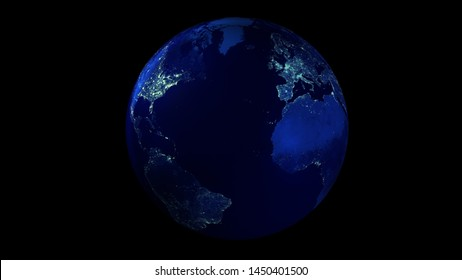The night half of the Earth from space showing North and South America, Europe and Africa. 3D illustration