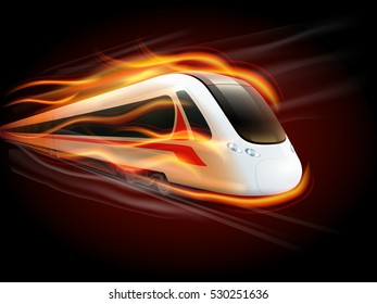 Night high-speed train on the way enwrapped in fire flames spectacular railways image poster print  illustration
