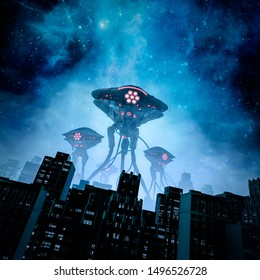 Night of the invasion / 3D illustration of retro science fiction scene with giant alien machines attacking city