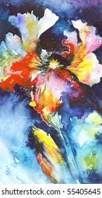 Night Iris, original watercolor illustration painted by me