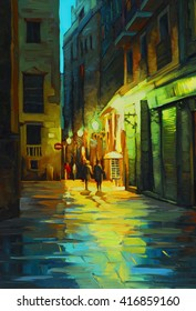 night landscape in barcelona gothic quarter with the rain, painting in oil on canvas, illustration