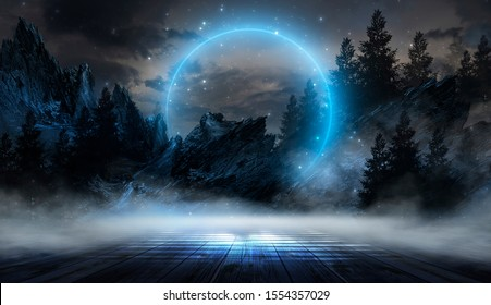 Night landscape, dark forest, river. Night sky, mountains. Reflection in the water of moonlight. Dark natural background. 3D illustration.