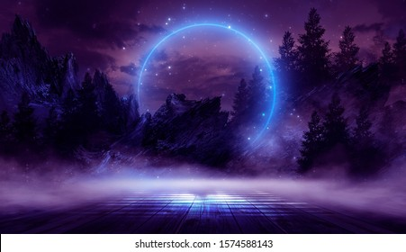 Night landscape, dark forest, river. Night sky, mountains. Reflection in the water of moonlight. Dark natural background. 3D illustration