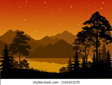 Night Landscape, Forest, Coniferous and Deciduous Trees Silhouettes, lake or river, Mountains, Orange Sky with Stars.