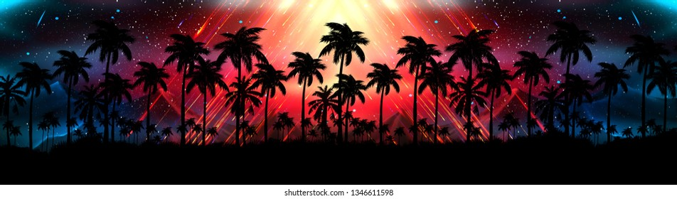 Night landscape with palm trees, against the backdrop of a neon sunset, stars. Silhouette coconut palm trees on beach at sunset. Vintage tone. Space futuristic landscape. Neon palm tree