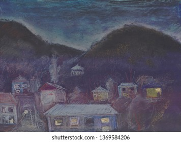 the night landscape with road,  settlement and mountains