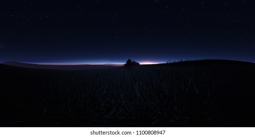 Night landscape with stars. Panorama, environment 360 HDRI map. Equirectangular projection, spherical panorama. 3d illustration