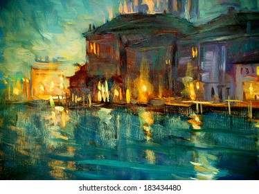 night landscape to venice, painting by oil on plywood, illustration