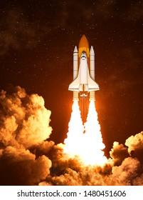 Nachtstart der amerikanischen Raumfähre. 3D-Illustration.
