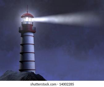 NIGHT LIGHTHOUSE BEAM